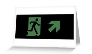 Running Man Exit Sign Greeting Card 68