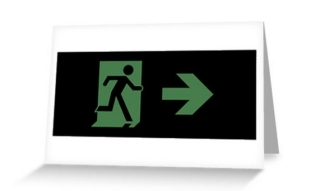 Running Man Exit Sign Greeting Card 69