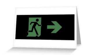 Running Man Exit Sign Greeting Card 69