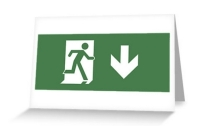 Running Man Exit Sign Greeting Card 7