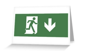 Running Man Exit Sign Greeting Card 7