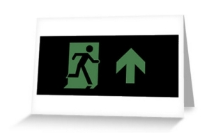 Running Man Exit Sign Greeting Card 70