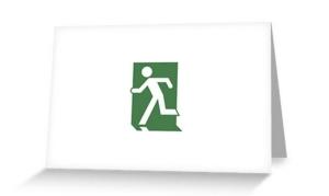 Running Man Exit Sign Greeting Card 71