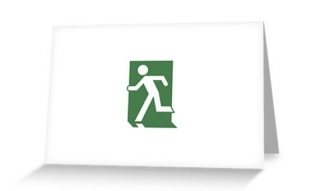 Running Man Exit Sign Greeting Card 71