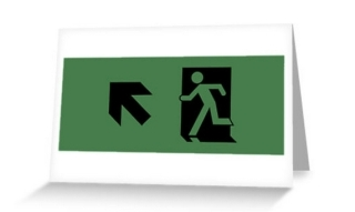 Running Man Exit Sign Greeting Card 72