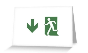 Running Man Exit Sign Greeting Card 73