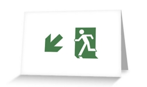 Running Man Exit Sign Greeting Card 74