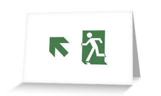 Running Man Exit Sign Greeting Card 75
