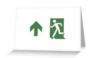 Running Man Exit Sign Greeting Card 77