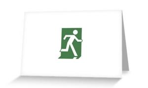 Running Man Exit Sign Greeting Card 78