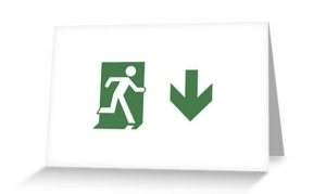 Running Man Exit Sign Greeting Card 79