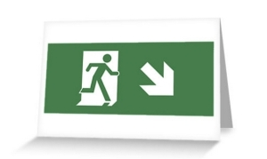 Running Man Exit Sign Greeting Card 8