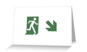 Running Man Exit Sign Greeting Card 80