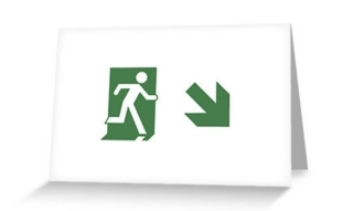 Running Man Exit Sign Greeting Card 80