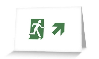 Running Man Exit Sign Greeting Card 81