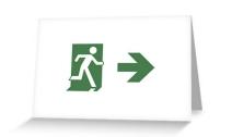 Running Man Exit Sign Greeting Card 82