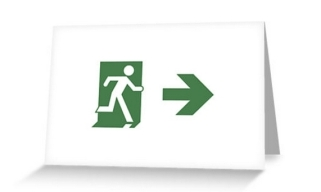 Running Man Exit Sign Greeting Card 82