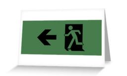 Running Man Exit Sign Greeting Card 83