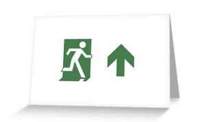 Running Man Exit Sign Greeting Card 84