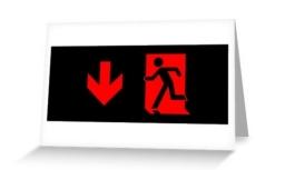 Running Man Exit Sign Greeting Card 86