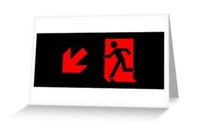 Running Man Exit Sign Greeting Card 87