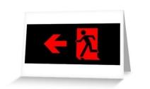 Running Man Exit Sign Greeting Card 89
