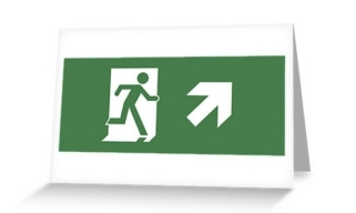 Running Man Exit Sign Greeting Card 9