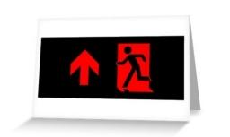 Running Man Exit Sign Greeting Card 90