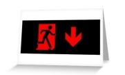 Running Man Exit Sign Greeting Card 91