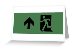Running Man Exit Sign Greeting Card 94