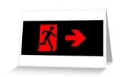 Running Man Exit Sign Greeting Card 95