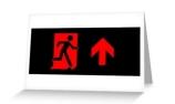 Running Man Exit Sign Greeting Card 96