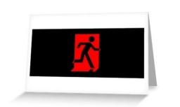 Running Man Exit Sign Greeting Card 97