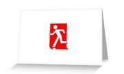 Running Man Exit Sign Greeting Card 98