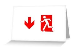 Running Man Exit Sign Greeting Card 99