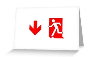 Running Man Exit Sign Greeting Card 99