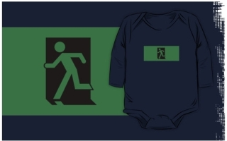 Running Man Exit Sign Kids T-Shirt 1