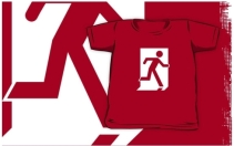 Running Man Exit Sign Kids T-Shirt 10