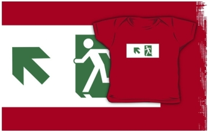 Running Man Exit Sign Kids T-Shirt 101