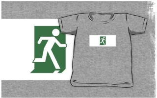 Running Man Exit Sign Kids T-Shirt 104