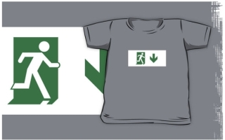 Running Man Exit Sign Kids T-Shirt 105