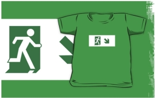 Running Man Exit Sign Kids T-Shirt 106