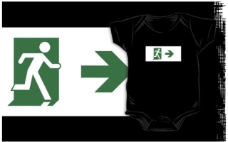 Running Man Exit Sign Kids T-Shirt 109