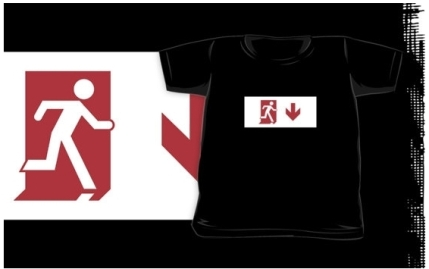 Running Man Exit Sign Kids T-Shirt 11