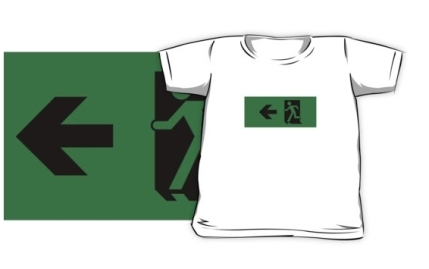 Running Man Exit Sign Kids T-Shirt 110