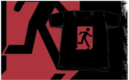 Running Man Exit Sign Kids T-Shirt 111