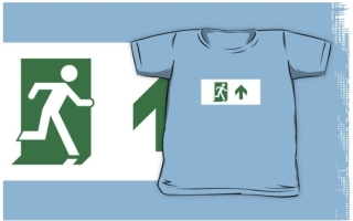 Running Man Exit Sign Kids T-Shirt 112