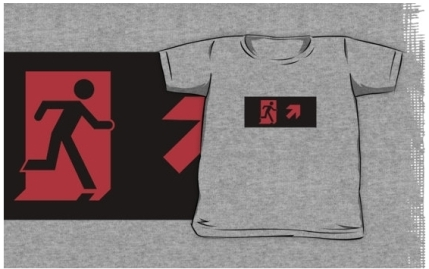 Running Man Exit Sign Kids T-Shirt 122