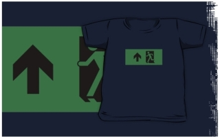 Running Man Exit Sign Kids T-Shirt 123