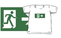 Running Man Exit Sign Kids T-Shirt 13